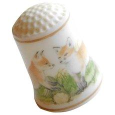 Vintage FOXES Fox Porcelain Estate Thimble