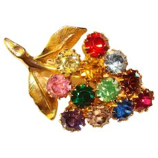 Fabulous COLOR GRAPES Vintage Rhinestone Brooch