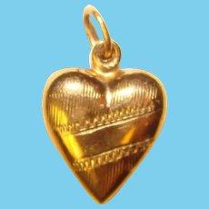 Fabulous 10K Gold Tiny Heart Pendant for Doll