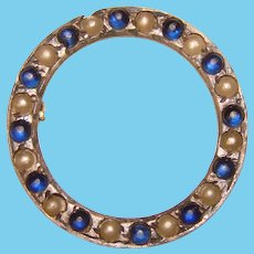 Gorgeous STERLING Blue Glass Stones Vintage Brooch for You or Your Doll