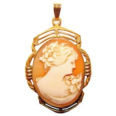 Gorgeous CARVED SHELL CAMEO Vintage Locket Pendant