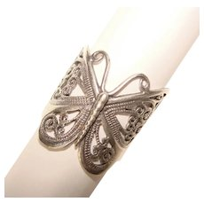 Fabulous STERLING BUTTERFLY Design Openwork Ring