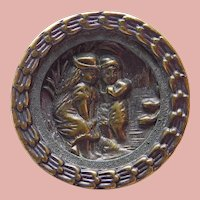 """Antique BOY & GIRL Picture Story Button - 1 1/8"""""""