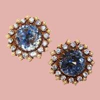 Fabulous Huge BLUE Glass Rhinestone Vintage Clip Earrings