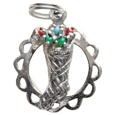 Sterling CHRISTMAS STOCKING Vintage Estate Charm