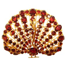 Fabulous PEACOCK Garnet Glass Stones Vintage Brooch