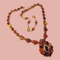 Fabulous FALL COLORS Vintage Rhinestone Necklace