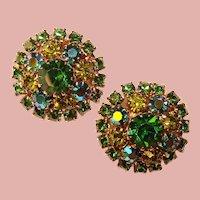 Gorgeous WEISS Green & Green Aurora Rhinestone Vintage Clip Earrings