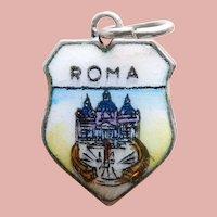 800 Silver & Enamel ROME Roma Charm - Souvenir of Italy - Travel Shield