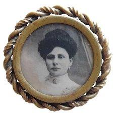 Beautiful VICTORIAN Antique Lady Photo Portrait Brooch