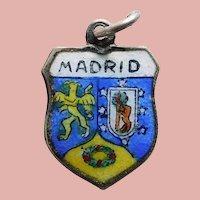800 Silver & Enamel MADRID Charm - Souvenir of Spain - Travel Shield