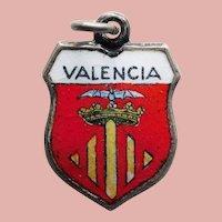 800 Silver & Enamel VALENCIA Charm - Souvenir of Spain - Travel Shield