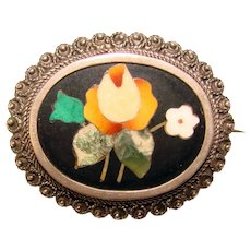 Fabulous PIETRA DURA 800 Silver Antique Brooch - Italian Inlaid Stone Mosaic