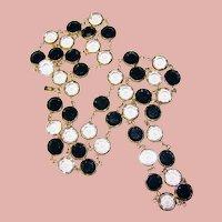 Fabulous SWAROVSKI Bezel Edge Set Jet Black & Crystal Stones Vintage Necklace – Large Crystals