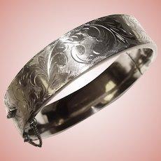 Fabulous STERLING Engraved Design Vintage Hinged Bangle Bracelet