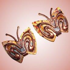 Fabulous Matisse Enamel BUTTERFLY Design Vintage Earrings
