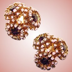 Gorgeous PURPLE RHINESTONE Enamel Flower Cluster Design Vintage Clip Earrings