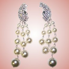 Fabulous Sparkling Rhinestone and Faux Pearl Drops Vintage Clip Earrings