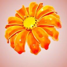Fabulous 1960s Orange Enamel Flower Power Vintage Brooch