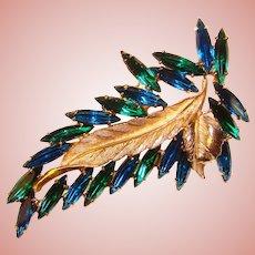 Fabulous CAPRI BLUE & EMERALD Green Skinny Navette Rhinestone Brooch