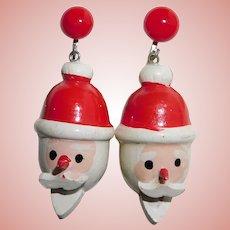 Mid Century SANTA CLAUS Painted Wood Earrings - Christmas Holidays - Screw Backs - 1950s 1960s