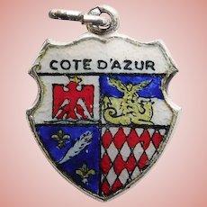 800 Silver & Enamel FRENCH RIVIERA Cote D'Azur Charm - Souvenir of France - Travel Shield