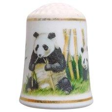 Vintage PANDA BEARS Porcelain Estate Thimble