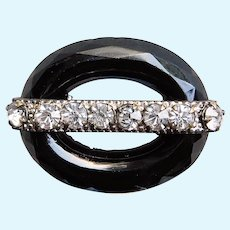 """Tiny Antique Black Glass  Rhinestone Mini Sash Pin Brooch - 1 1/16"""" by 3/4"""" - For Your Doll"""