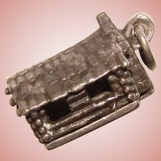Awesome Sterling Mechanical Secret Scene LOG CABIN OUTHOUSE Vintage Charm