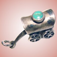 Awesome Sterling & Turquoise Color COVERED WAGON Vintage Charm