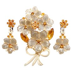 Gorgeous Amber Rhinestone & Plastic Flowers Bouquet Brooch Set