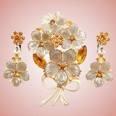 Gorgeous Amber Rhinestone & Plastic Flowers Bouquet Brooch Set