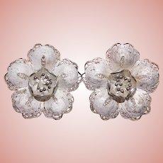 Gorgeous 800 SILVER Filigree Flower Clip Earrings