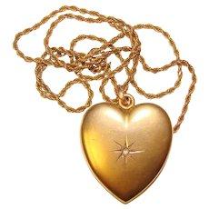Fabulous Antique LOCKET Heart with Diamond Pendant Necklace