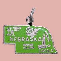 Sterling & Enamel NEBRASKA Vintage Estate Charm - State Souvenir