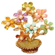 Fabulous SWOBODA Gemstones & Pearls Vase of Flowers Vintage Brooch
