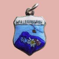800 Silver & Enamel WALLBERGBAHN Charm - Souvenir of Germany - Travel Shield