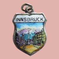 800 Silver & Enamel INNSBRUCK Charm - Souvenir of Austria - Travel Shield