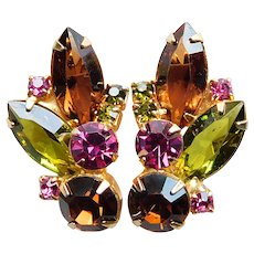 Gorgeous Brown Green & Pink Rhinestone Vintage Clip Earrings - Autumn Fall Colors