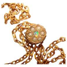 Fabulous Antique OPAL SLIDE Watch or Locket Chain