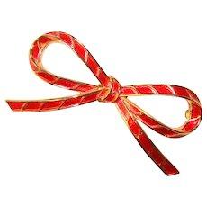 Gorgeous TRIFARI Red Enamel Bow Brooch