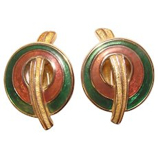 Gorgeous TRIFARI 1980s Clip Earrings - Brown & Green Colors