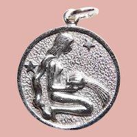Sterling AQUARIUS Vintage Estate Charm - Zodiac Astrology
