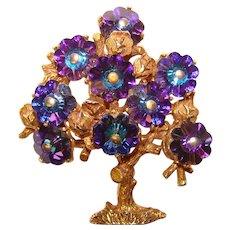Fabulous MARGARITA CRYSTAL Tree of Life Vintage Brooch - Figural