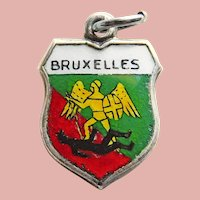 800 Silver & Enamel BRUSSELS Bruxelles Charm - Souvenir of Belgium  - Travel Shield