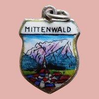 800 Silver & Enamel MITTENWALD Charm - Souvenir of Germany - Travel Shield