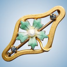 """Tiny Antique Green Enamel Flower Mini Sash Pin Brooch - 1"""" by 9/16"""" - For Your Doll"""