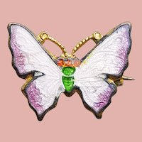 Tiny Antique Butterfly Enamel Brooch - For Your Doll