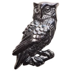 Early Plastic OWL Figural Vintage Brooch - Autumn Fall or Halloween