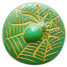 Awesome SPIDER IN WEB Vintage Plastic Button